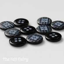 Charcoal Gingham Buttons - 12mm - 10 Buttons