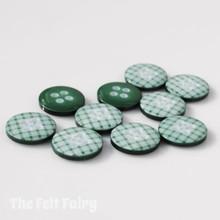Green Gingham Buttons - 12mm - 10 Buttons