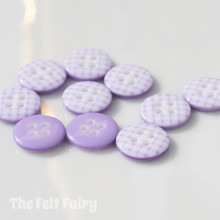 Lilac Gingham Buttons - 12mm - 10 Buttons