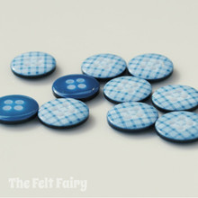 Teal Gingham Buttons - 12mm - 10 Buttons
