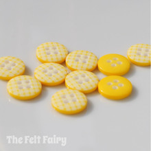 Yellow Gingham Buttons - 12mm - 10 Buttons