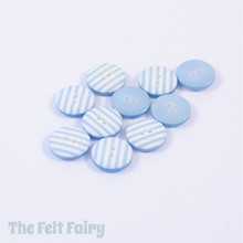 Aqua Stripy Buttons - 12mm - 10 Buttons