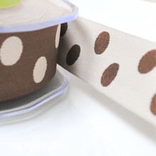 Brown and Neutral Reversible Polka Dot Ribbon
