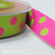 Cerise and Lime Reversible Polka Dot Ribbon