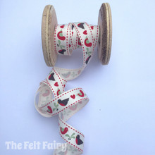 Vintage Robins - Bird / Heart Grosgrain Ribbon