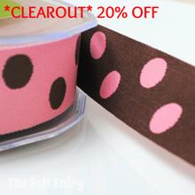 *0.7 metre* Pink and Brown Reversible Polka Dot Ribbon