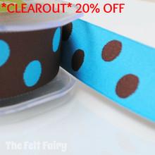 *0.8 metre* Turquoise and Brown Reversible Polka Dot Ribbon