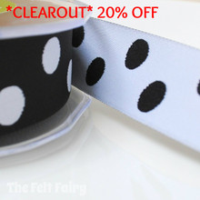 *3.5 metre* Black and White Reversible Polka Dot Ribbon