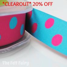 *4 metre* Cerise and Turquoise Reversible Polka Dot Ribbon