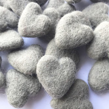 Smoke Grey Wool Felted Heart