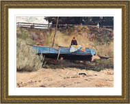 Boat on Beach Queenscliff Gold Frame