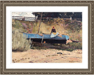 Boat on Beach Queenscliff Silver Frame