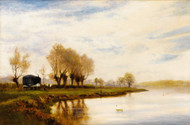 Landscape  - A Misty Morning  by Alfred de Breanski