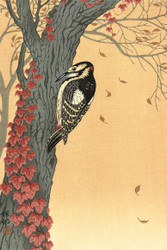 Great Spotted Woodpecker On Tree With Red Ivy by Ohara Koson