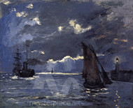 A Seascape, Shipping by Moonlight by Claude Monet Premium Giclee Print