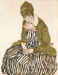 Edith with Striped Dress, Sitting by Egon Schiele Premium Giclee Print