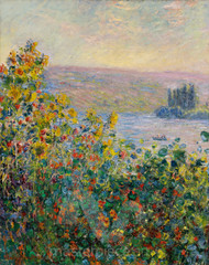 Flower Beds at Vétheuil by Claude Monet Premium Giclee Print