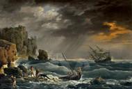 Maritime Art - A Mediterranean Coastal Scene with a Shipwreck