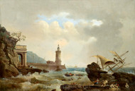 Maritime Art - A Mediterranean Coastal Scene with a Shipwreck and Lighthouse