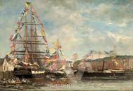 Maritime Art - Festival in the Harbor of Honfleur by Eugène Boudin