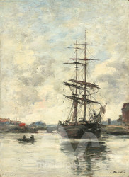 Maritime Art - Ship on the Touques by Eugène Boudin