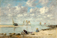 Maritime Art - Washerwoman near Trouville by Eugène Boudin