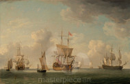 Maritime Art - English Ships Under Sail in a Very Light Breeze