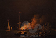 Maritime Art - Ship on fire at night by Charles Brooking