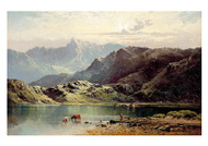 Cattle Watering at the Edge of a Loch by Alfred de Bréanski