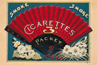 Smoke Smoke Cigarettes 3d. Packet Vintage Advertising