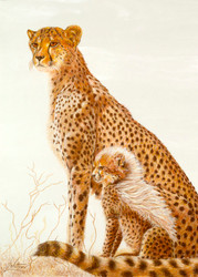 Cheetah and Cub by Lori Watson African Art