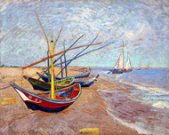 Vincent van Gogh Print Fishing Boats on the Beach at Les Saintes Maries de la Mera