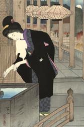 Japanese Print A Visit to the Kiyomizu Temple Miki Suizan by Sato Shotaro Art
