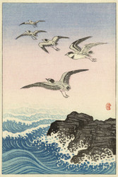 Japanese Print Five Seagulls Over Rock in the Sea by Ohara Koson b Wildlife