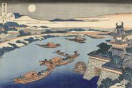 Japanese Print The Yodo River in Moonlight by Katsushika Hokusai Art
