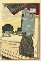 Japanese Print View Matsuchiyama from the Sumida River by Kobayashi Tetsujiro 1884 Art