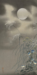Grasses and Full Moon Flowers by Ohara Koson Japanese Woodblock