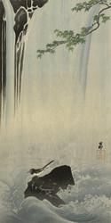 Japanese Bird at Waterfall by Ohara Koson Japanese Woodblock