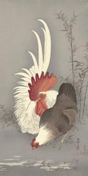 Rooster and Chicken by Ohara Koson  and Matsuki Heikichi Japanese Woodblock