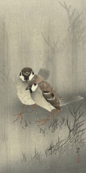 Two Birds in the Rain by Ohara Koson and Matsuki Heikichi 1900 1930 Japanese Woodblock