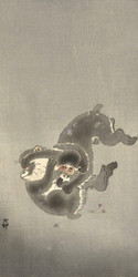 Two Playing Monkeys by Ohara Koson and Matsuki Heikichi Japanese Woodblock