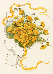 Buttercups Publisher  By L  Prang Co Floral Print