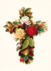 Cross Of Roses by Olive E Whitney Floral Print
