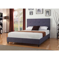 Twin Charcoal Dark Blue Linen Platform Bed with Upholstered Headboard TBLV5198415
