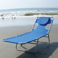 Blue Chaise Lounge Beach Chair with Rustproof Steel Frame OSL561841