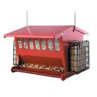 Red Metal House Shaped Bird Feeder with Heavy Duty Hanger HFSMBF38