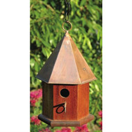 Solid Mahogany Wood Songbird Birdhouse with Shiny Copper Roof HCSB7746