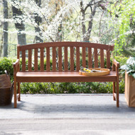 Curved Back 4-Ft Outdoor Garden Bench with Arm-Rests in Natural Wood Finish ACB65187844