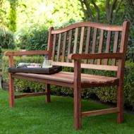4-Ft Wood Garden Bench with Curved Arched Back and Armrests CRAC4B139