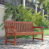 5-Ft Outdoor Wooden Garden Bench with Armrests E5FTGB199